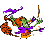 Witch Crashing And Breaking Her Broom