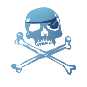 Blue Pirate Skull and Crossbones.