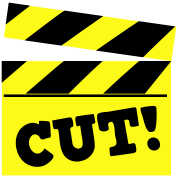 film movie placard cutting board CUT!