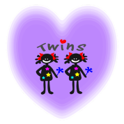 cute twins txt line art & girls vector art
