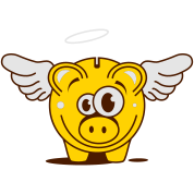 A funny piggy bank with wings