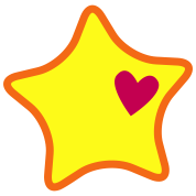 super rounded star with a love heart