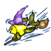 Wizard Fish - funny cute drawing, By FabSpark