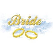 Bride, Gold Wedding Rings and Blue Clouds