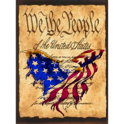 We The People American Eagle Flage - American Flag Flag overlaying the Preamble to the Constitutiion