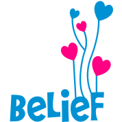 belief with love heart balloons uplifting