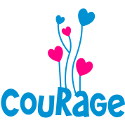 courage and faith word with lovely heart balloons