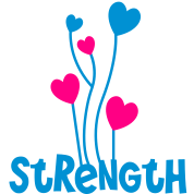 the word strength with love heart balloons