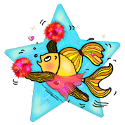 Cheerleader Fish cute funny sparky comics Cheer (Clear Background) , By FabSpark