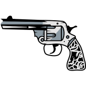 old revolver with ornamental decorations on the grip