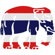 Thai Flag Elephant Crossing Sign