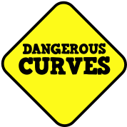 DANGEROUS CURVES warning sexy sign