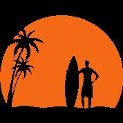 surfer palms sun surfboard surfing sundown sunset swim beach