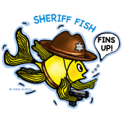 Sheriff Fish Fabspark Sparky, clear image with tex