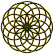 Flower of Life - Seed of Life - Tube Torus, DD gold-green, Sacred Geometry, Energy Symbol