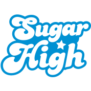 sugar high blue in a funky font