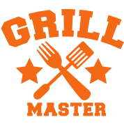 grill master BBQ barbecue design with fork and patty scraper
