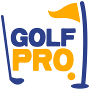 golf pro with golf ball flag and club