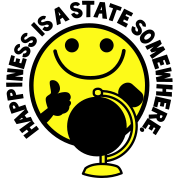HAPPINESS is a STATE somewhere! with yellow smiley and a world globe
