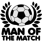 MAN of the MATCH soccer ball with circlet black and white
