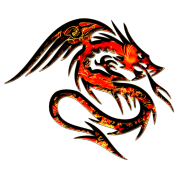 Dragon fire , digital, red