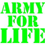 ARMY for LIFE in stencil really bold