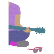 Design ~ Guitar, pink sunglasses, and nail polish