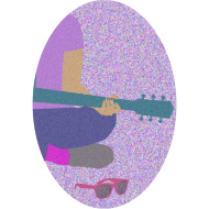 Design ~ Guitar, pink sunglasses, and nail polish Oval
