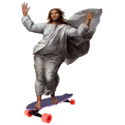 Jesus with Skateboard Longboard