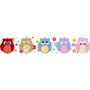 Cute Colorful Owls and flowers