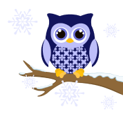 Blue winter owl