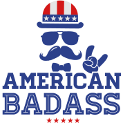 Like a USA love America American flag Badass boss