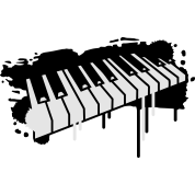Piano keyboard in graffiti style