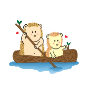 cute hedgehog couple on boat