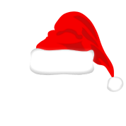 White Mustache and Santa Hat