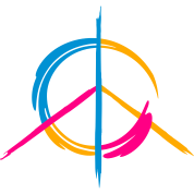 A colorful peace symbol as a graffito