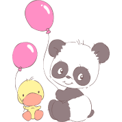 Panda and Duckling with Balloons