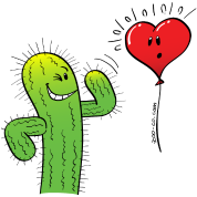 Cactus Flirting with a Heart Balloon