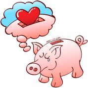 Piggy Bank Dreaming of Hearts instead of Coins