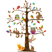colorful animals on a tree