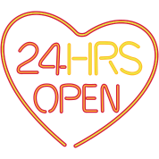 neon sign: 24 hrs open heart