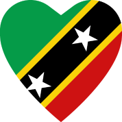 Saint Kitts Nevis Flag Heart