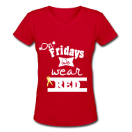 Women's T-Shirts ~ Women's V-Neck T-Shirt ~ Red Friday