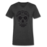 T-Shirts ~ Men's V-Neck T-Shirt by Canvas ~ Skull decorative ornaments