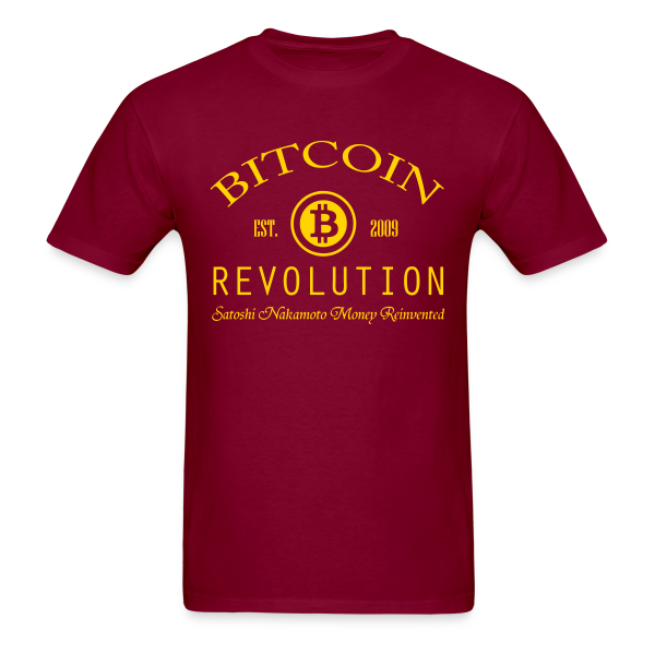 Bitcoin Revolution Burgundy T Shirt