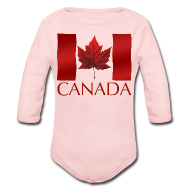 Baby & Toddler Shirts ~ Baby Long Sleeve One Piece ~ Canada Flag Souvenir Baby Creeper Canadian Souvenir Baby Romper