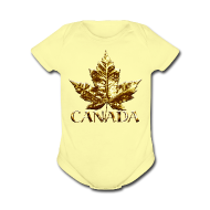 Baby & Toddler Shirts ~ Baby Short Sleeve One Piece ~ Baby Canada Romper Baby Toddler Gold Canada Souvenir One-Piece