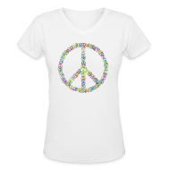 Women's T-Shirts ~ Women's V-Neck T-Shirt ~ Peace Sign of Peace signs