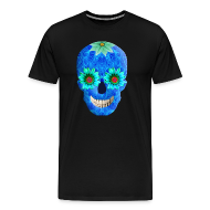 T-Shirts ~ Men's Premium T-Shirt ~ Blue Day Of The Dead Skull Shirt