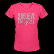 Women's T-Shirts ~ Women's V-Neck T-Shirt ~ I Believe in You | Glitter Silver | Women's V-Neck